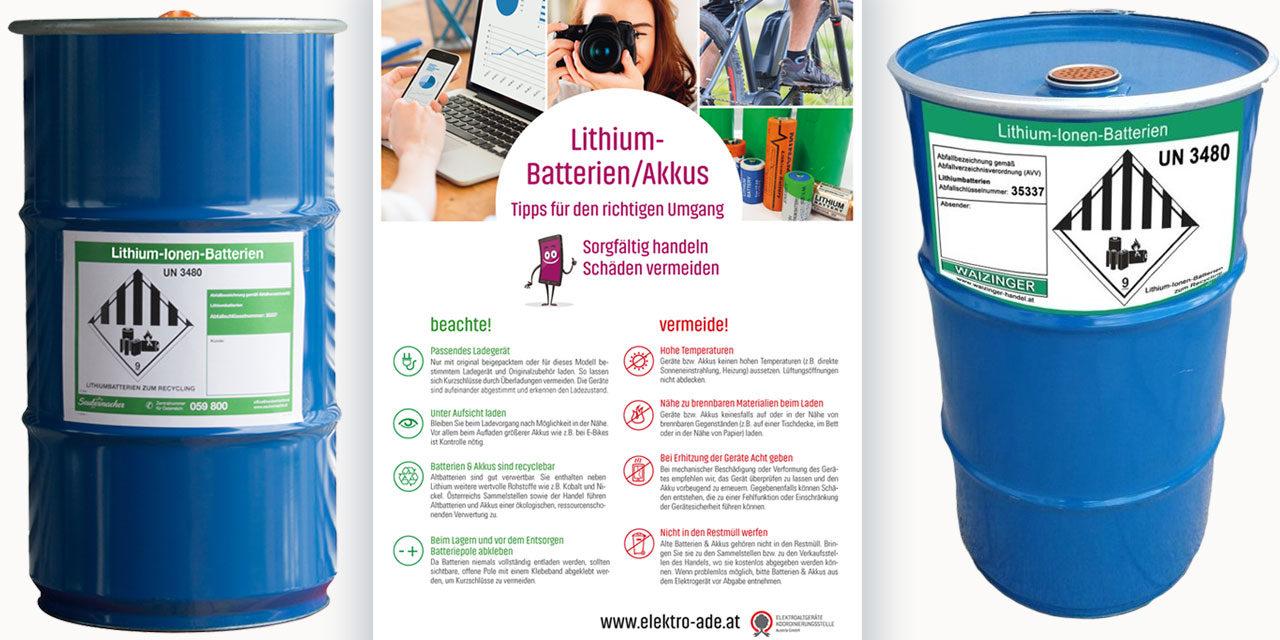 Neue Behälter zur Sammlung von Lithium-Batterien und -Akkus