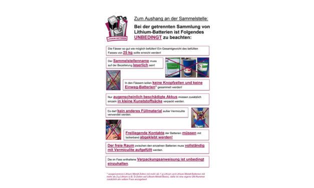 Informationsblatt zur Sammlung von Lithium-Batterien